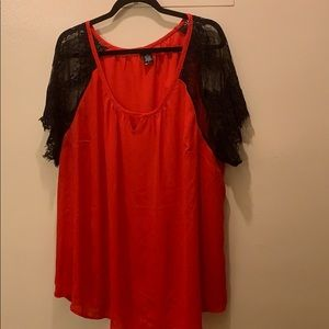 Red and black lace sleeve top